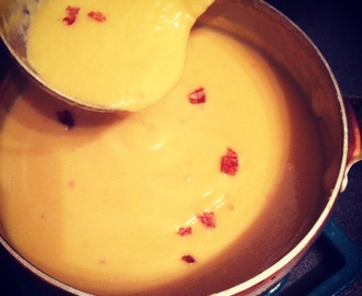Squash and sweet potato soup with coconut and chilli