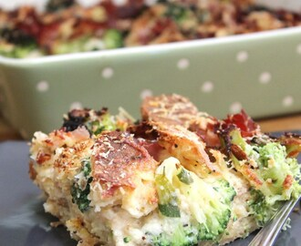 Parmesan Bread Pudding with Broccoli & Ham