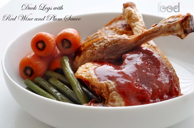 Duck Legs with Red Wine and Plum Sauce