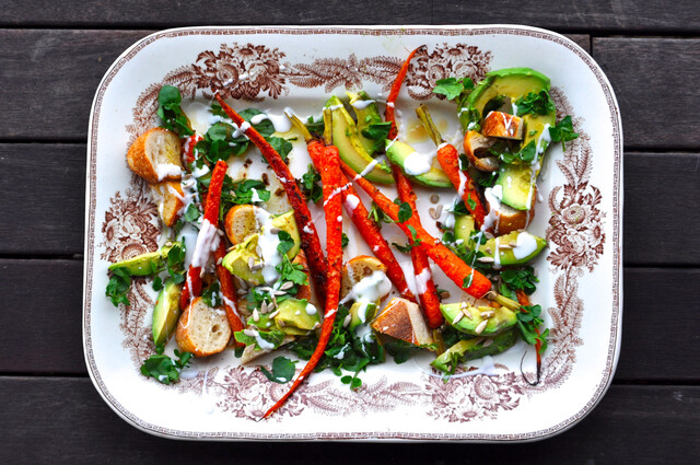 Roasted Carrot & Avocado Salad with Citrus Dressing