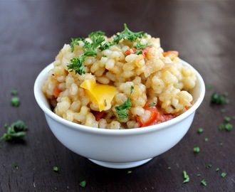 Baked Barley Risotto with Vegetables - vegan