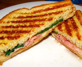 My Own Prosciutto, Mozzarella, Spinach, & Fig Jam Panini