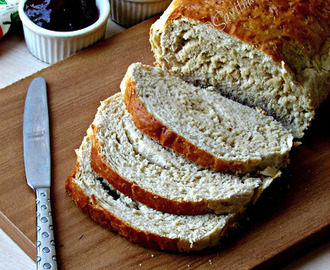 Wheat Bread using Tangzhong method - Fluffy and moist.- step by step