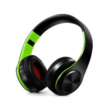 Foldable HIFI Stereo Portable Comfortable Bluetooth 4.0 Wireless Stereo Headphone - Black / Green