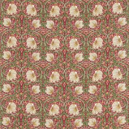 William Morris Pimpernel Red/Thyme Tyg
