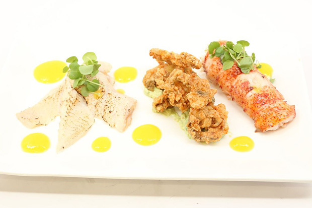 Poached Lobster Tails, and Fried Oyster with Mango and Avocado Purée