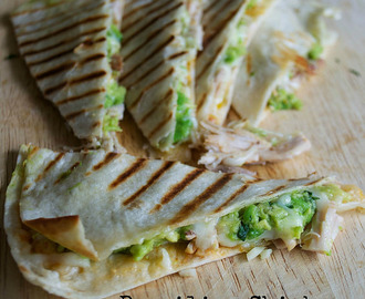 Brazilian Chicken, Mozzarella and Guacamole Quesadillas