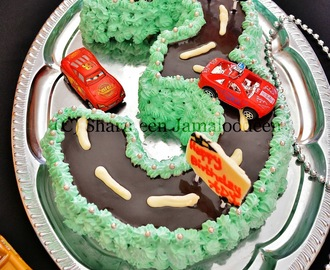 Number 3 Shaped Cars Themed Birthday Cake