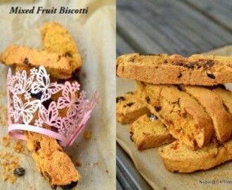 Eggless Mixed Fruit Biscotti / Tutti Fruti Rusk
