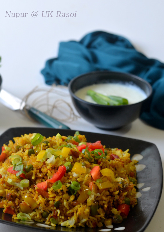 Schezwan Rice:  Indo- Chinese stir-fried recipe