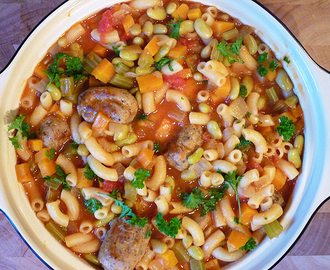* Sausage, Bean and Macaroni Stew