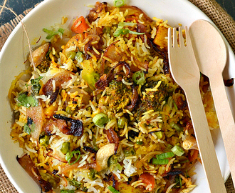 Hyderabadi Vegetable Dum Biryani – On stove top and oven, both versions explained