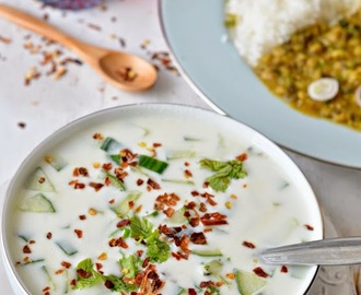 Roasted Garlic n Cucumber Yoghurt Dip :: Cucumber Raita with roasted garlic ::  Lehsuni Kheere ka Raita