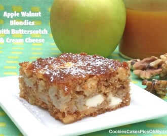 Apple Walnut Blondies with Butterscotch & Cream Cheese