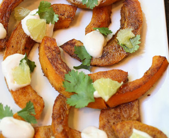 Yotam Ottolenghi's Butternut Squash with Spices, Lime and Yogurt Sauce.