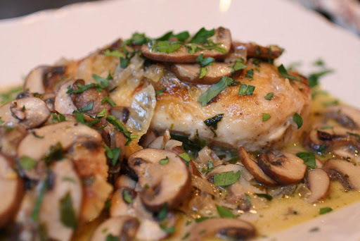 Chicken and Mushrooms in a White Wine Sauce - a Quick and Easy Mid Week Supper.