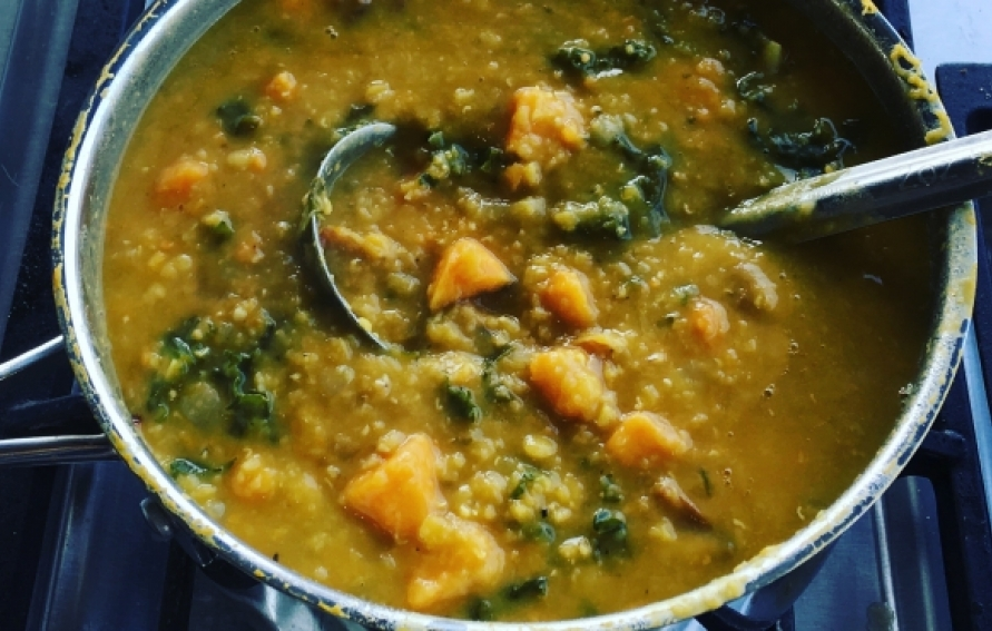 Sweet Potato, Kale, and Red Lentil Soup