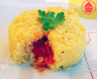 Polenta surprise, coeur coulant de tomate :)