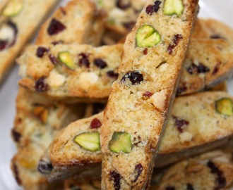 White Chocolate Drizzled Cranberry Pistachio Biscotti