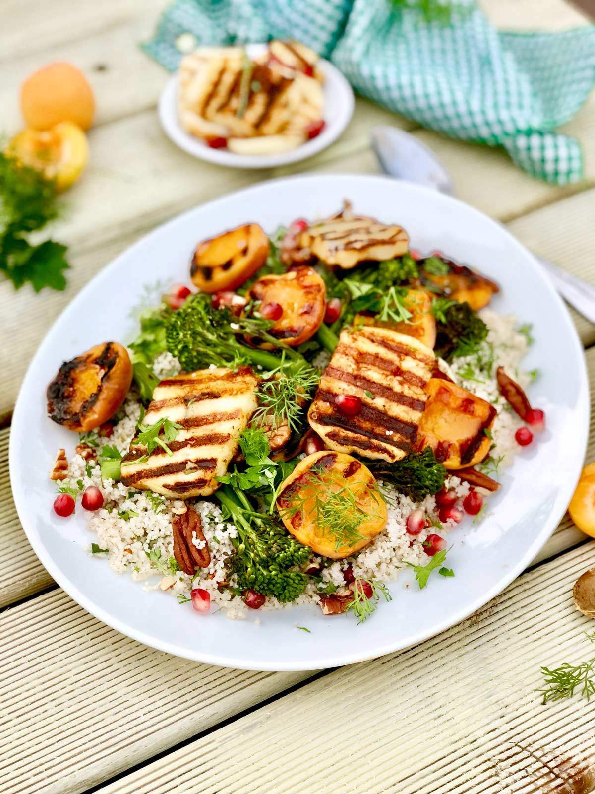 Herby barley couscous with chipotle halloumi and grilled apricots