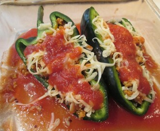 Baked Stuffed Poblano Peppers w/ Mini Ears of Corn with Chili Lime Butter