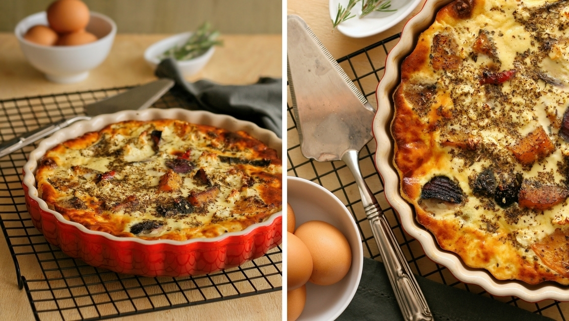 Cheesy roasted vegetable quiche (with video)