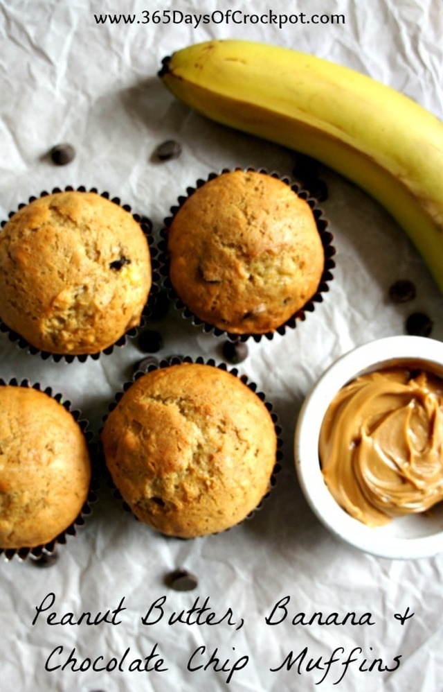 Recipe for Peanut Butter, Banana and Chocolate Chip Muffins