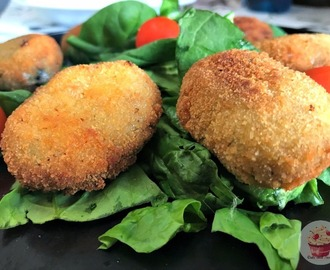 Croquette with spinach, pinions and goat cheese