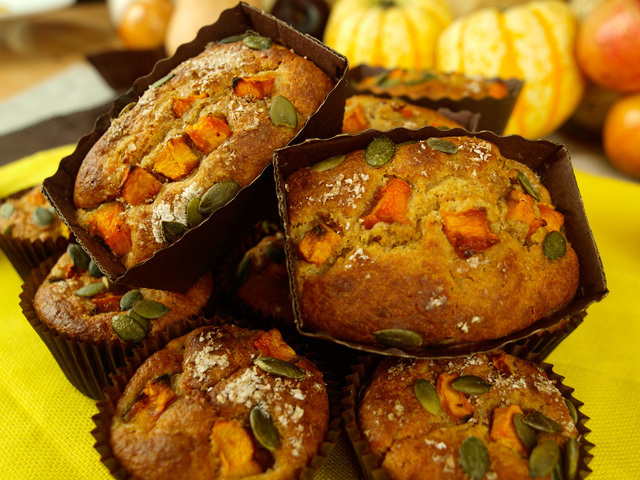 Triple pumpkin wholemeal muffins