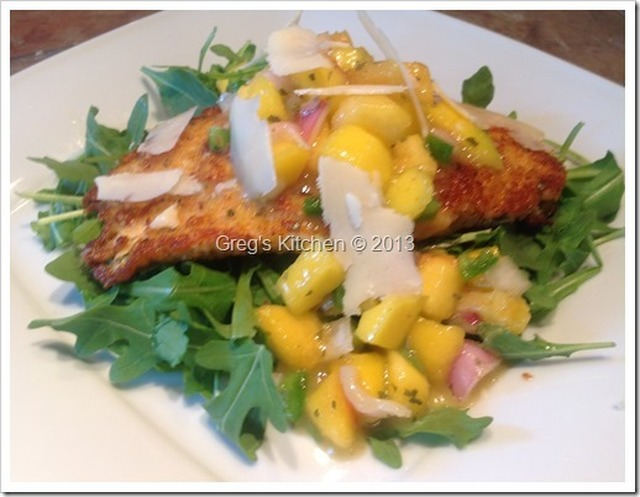 Parmesan Crusted Chicken with Mango/Peach Salsa