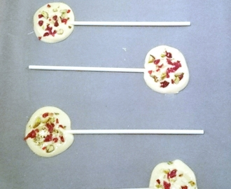 White Chocolate, Cranberry and Pistachio Lollipops