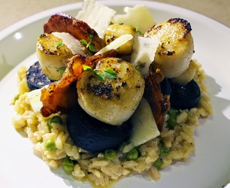 Scallops, Black Pudding and Bacon on Garlic and Pea Risotto