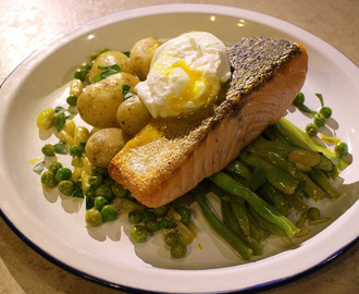 Crispy Skin Salmon, Lemony Greens, Garlic New Spuds and a Poached Egg