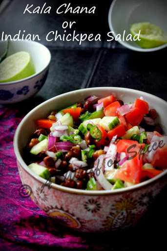 'Kala Chana' Salad or the Indian Chickpea Salad with Ginger Lime Dressing