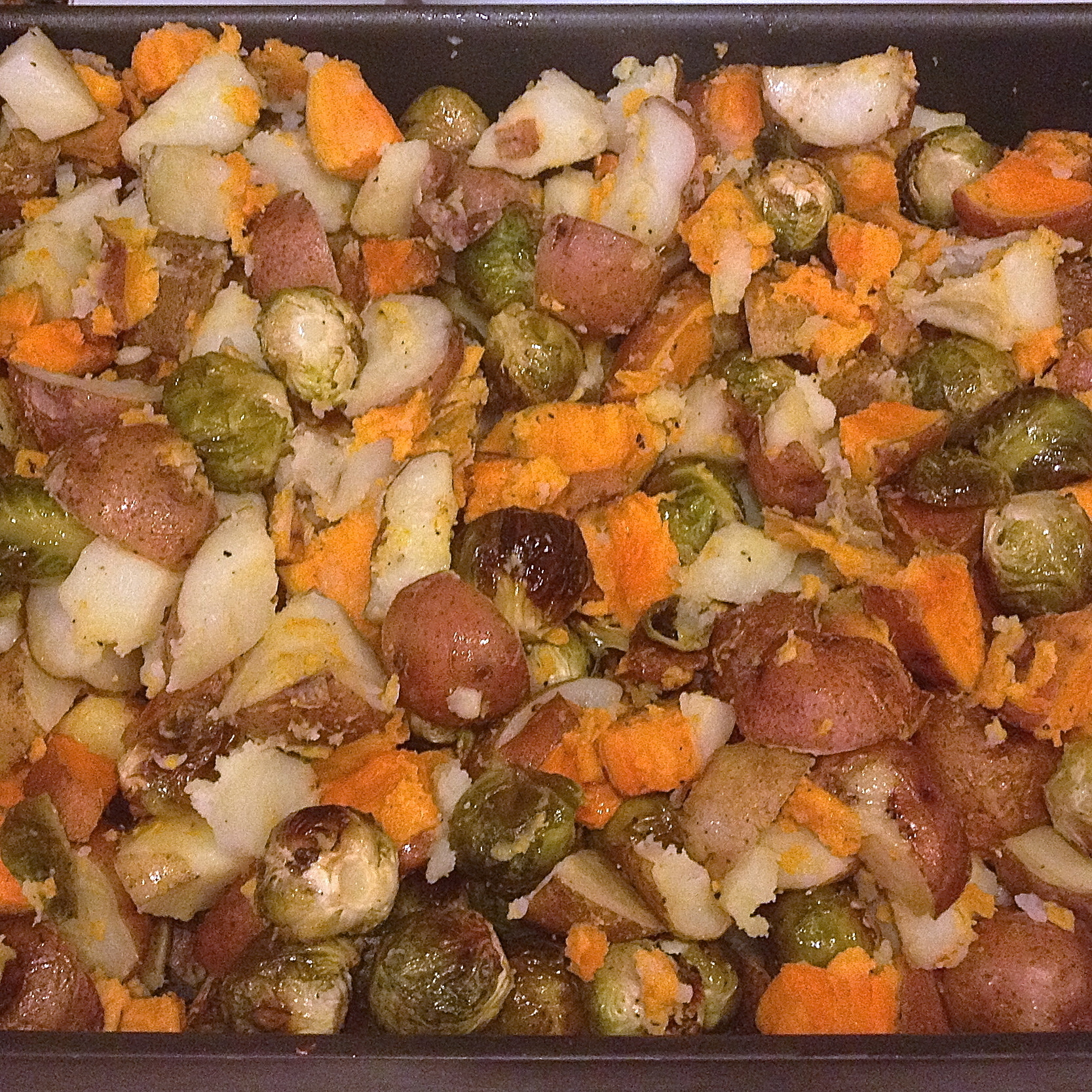 Roasted Potatoes and Brussel Sprouts