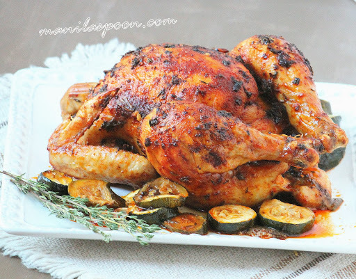 Garlic and Thyme Roasted Chicken with Courgettes (Zucchini)