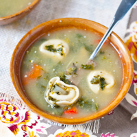 Spinach and Mushroom Tortellini Soup #SundaySupper