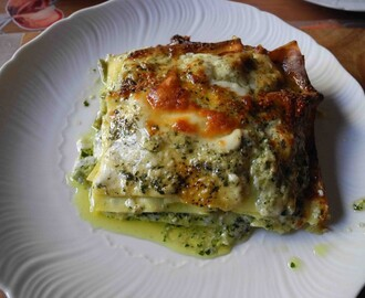Pesto lasagna with potatoes and string beans