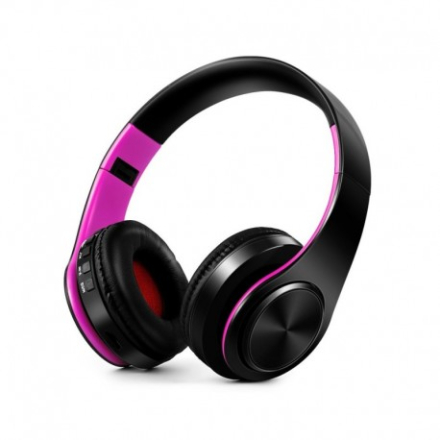 Foldable HIFI Stereo Portable Comfortable Bluetooth 4.0 Wireless Stereo Headset - Black / Rose