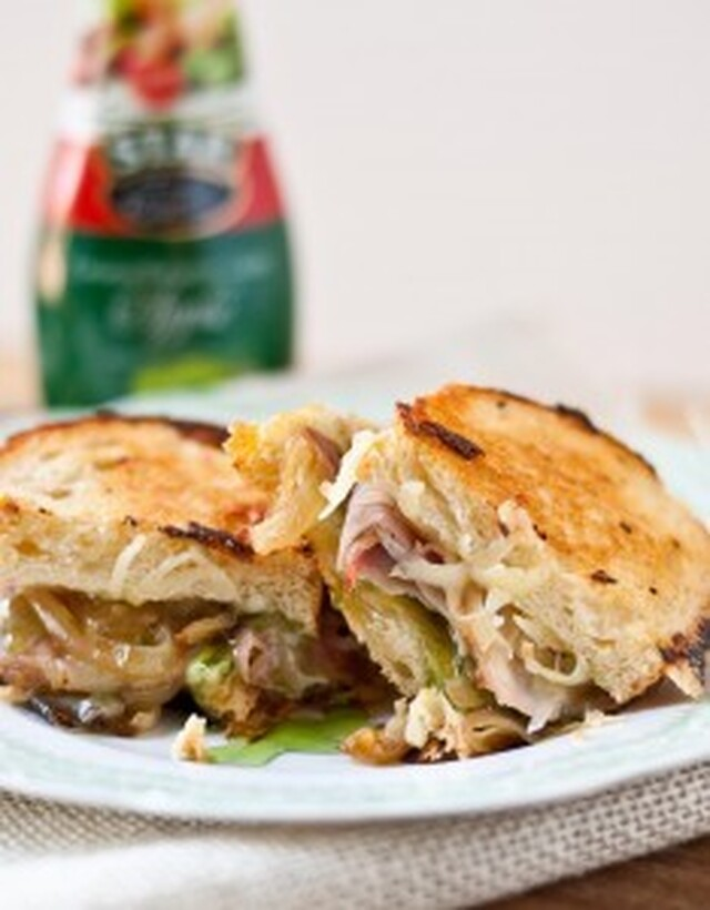 Gruyere, Ham, and Caramelized Onion Grilled Cheese with Apple Balsamic Glaze