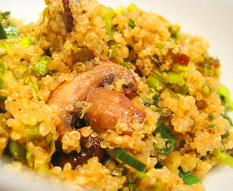 Quinoa with Leeks and Baby Portobellos