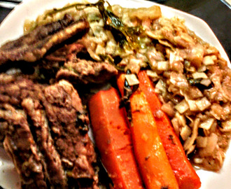 JUNECI PAUFLEK SA SARGAREPOM & BABY BEEF RIB EYE STEAK WITH CARROTS