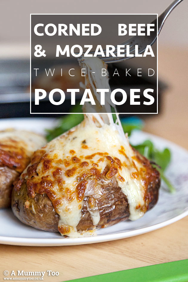 Corned beef & mozzarella twice-baked potatoes (recipe)