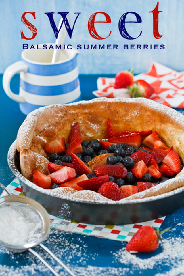 Baked pancake with balsamic summer berries