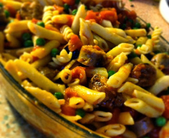 Pea, Sausage and Tomato Pasta
