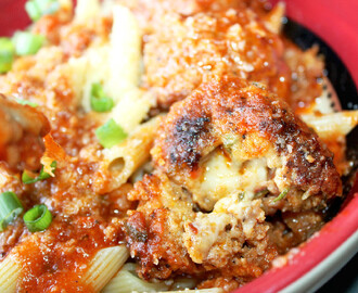 Pepper Jack Cheese Stuffed Meatballs and Tomato Sauce