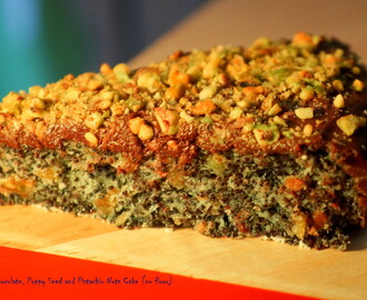 Fairtrade dark chocolate, poppy seed and pistachio nuts cake (no flour)