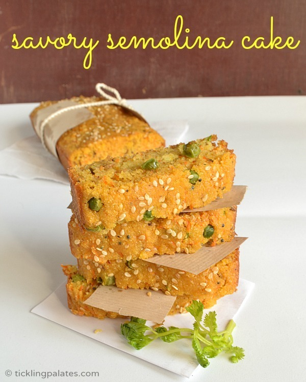 Savory Semolina Cake ~ Eggless Cake Recipes