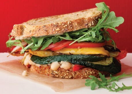 Roasted Vegetable Sandwiches with Zesty White Bean Spread!