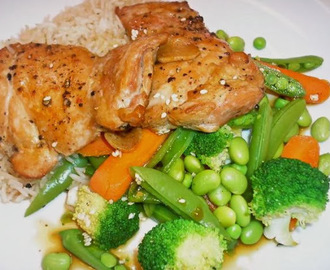 Ginger-Marinated Chicken with Steamed Vegetables
